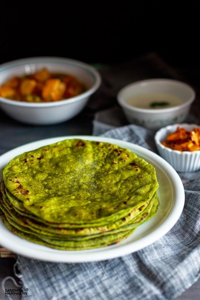 Palak Phulka | Spinach Roti