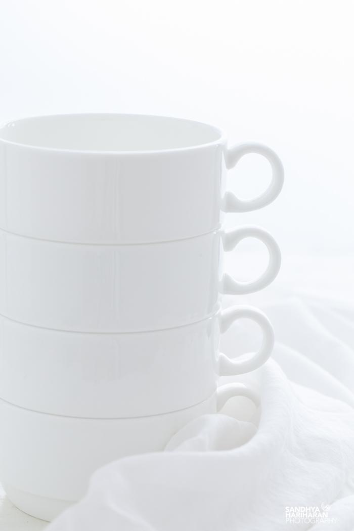White Mugs on White Background