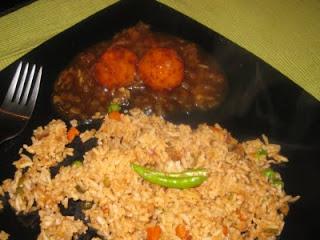 Veg Ball Manchurian with Veg Fried Rice