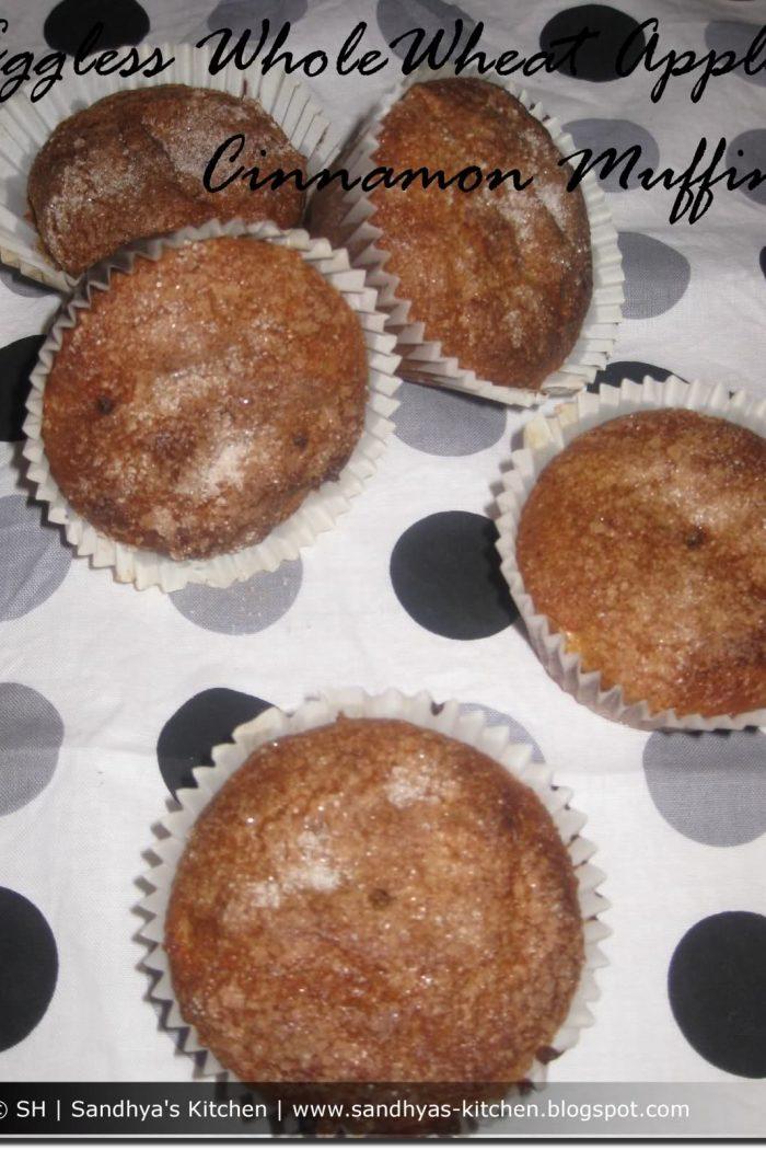 Eggless WholeWheat Apple Cinnamon Muffin