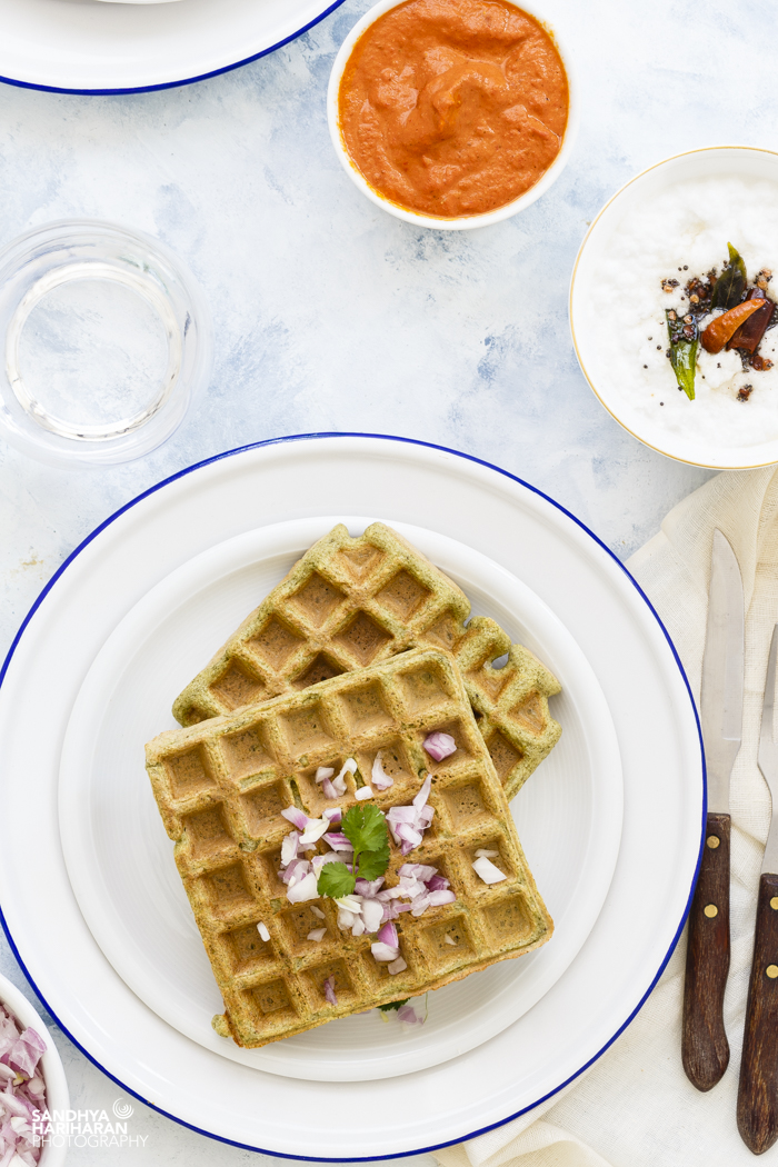 Green Gram Lentil Waffles with Coconut Chutney and Red Bell Pepper Chutney