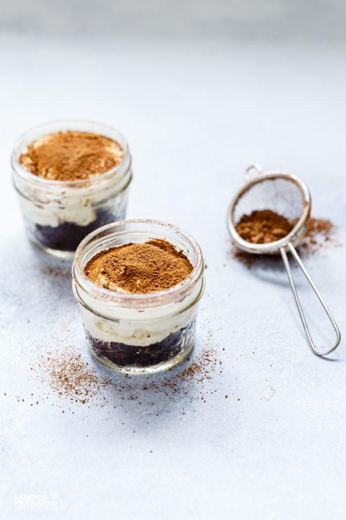 Easy 10 Minutes Chocolate Tiramisu in Jars. Its Eggless too !