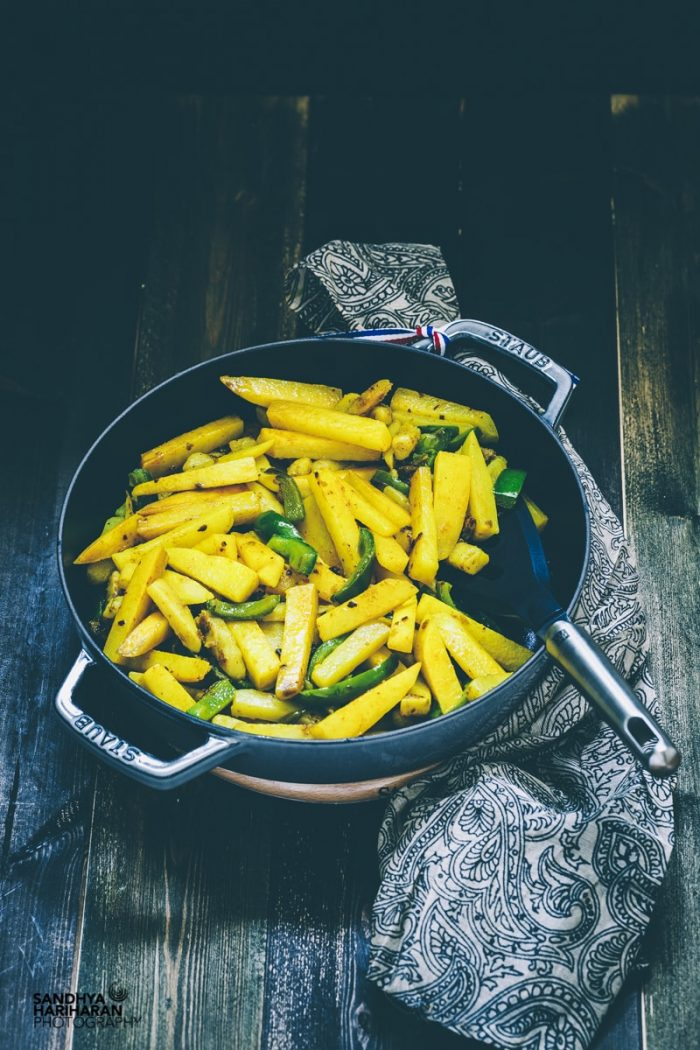 Aloo Capsicum    Potato Pepper Stir Fry