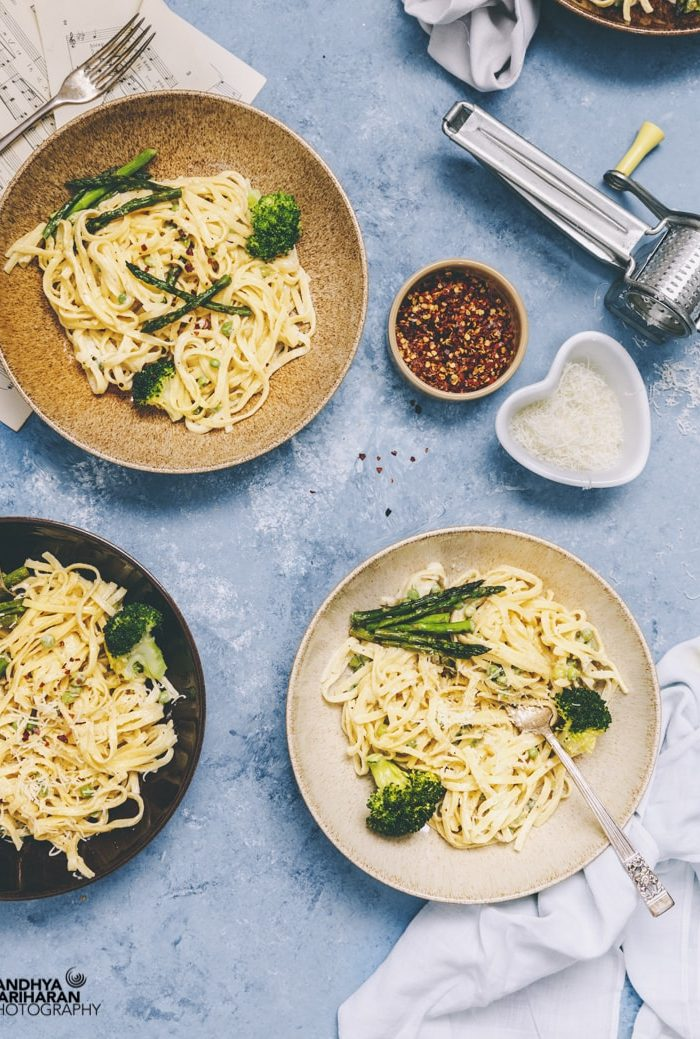 Fettuccine Alfredo with Asparagus, Broccoli & Peas