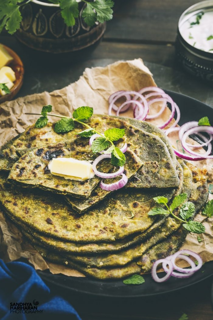 Stuffed Aloo Palak Paratha | Spinach Potato Paratha